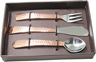 STREET CRAFT Hand Forge Stainless Steel Flatware Cutlery Copper Hammered Finish Easy Grip Handle Shiloah Fruit Set