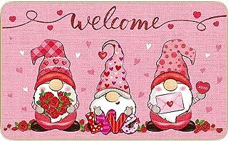 Happy Valentine's Day Gnome Decorative Doormat Indoor Outdoor Entrance Bathroom Doormat Non Slip Washable Flowers Floral W...