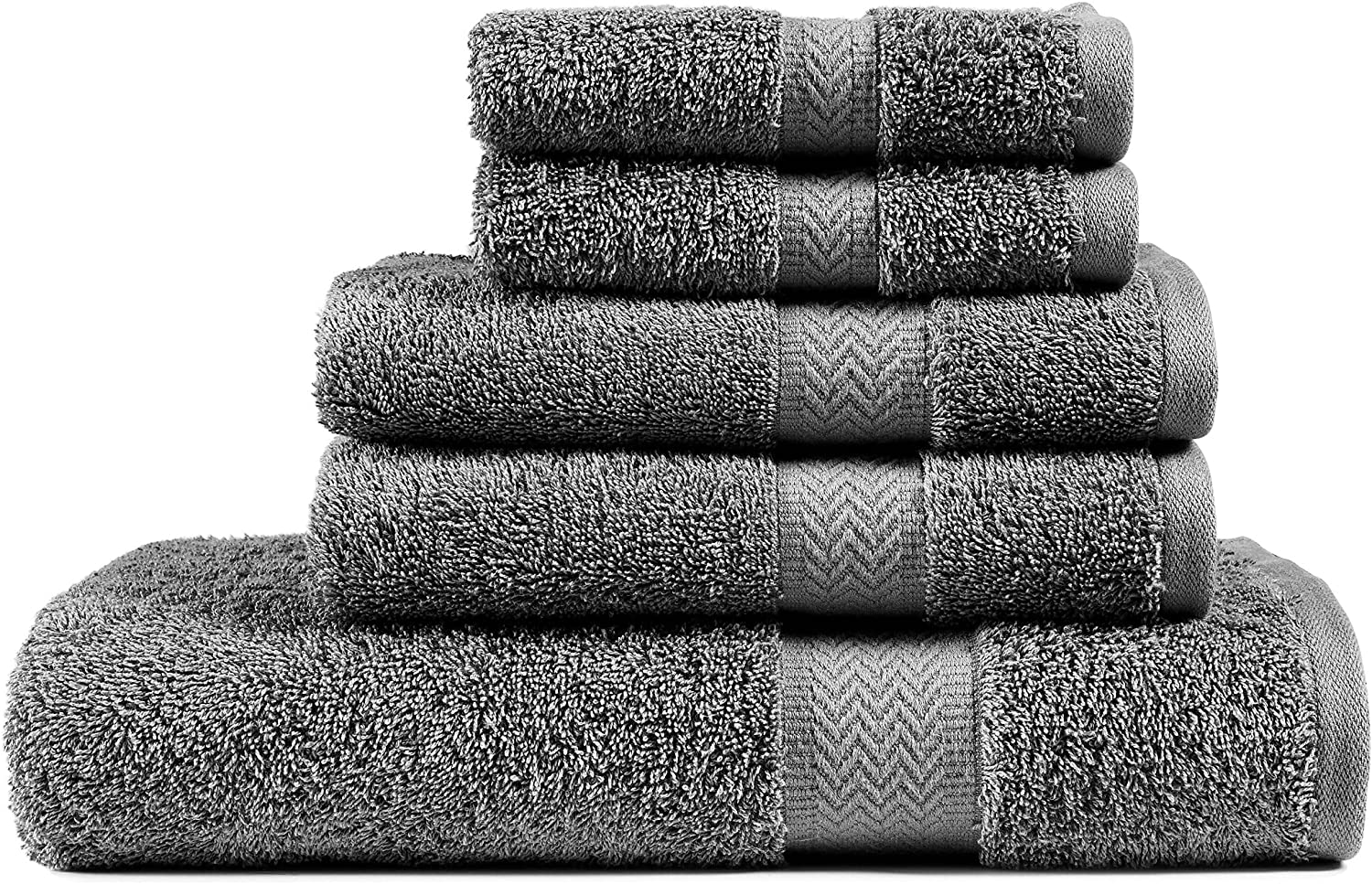 Bath Towels Set | Grey Towels | Chateau Home 5 Piece Towel Set | 1 Bath Towel, 2 Hand Towels, 2 Wash Cloths | 100% Cotton Towels, Extra Absorbent | Extra Soft, Quick Dry | 600 GSM - Grey