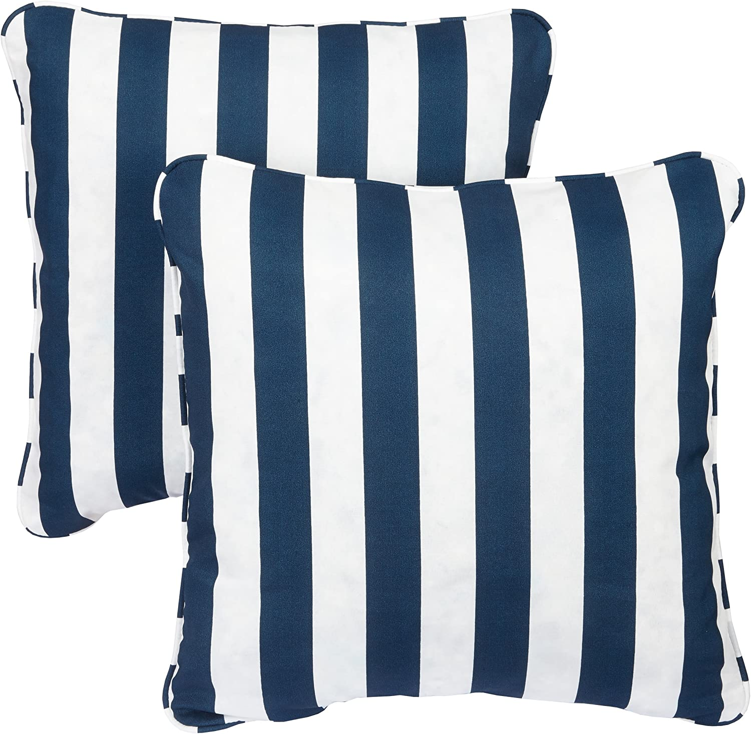Mozaic Company Indoor  Outdoor 22-inch Corded Pillow, Navy Stripes