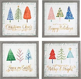 NIKKY HOME Gray Framed Christmas Tree Winter Wall Art Prints for Holiday, Wood Set of 4