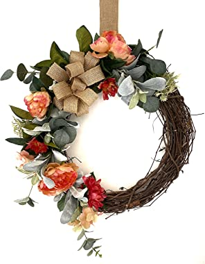 Summer Wreaths for Front Door Outside, 20 in, with/Without Welcome Sign, Eucalyptus, Lambs Ear, Peony Flowers & Burlap Bo