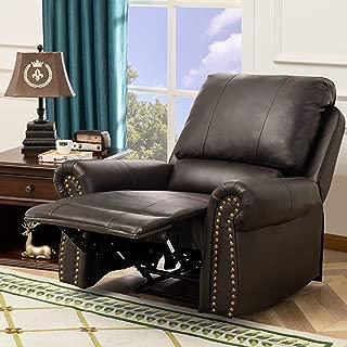 XTWEEX, PU Leather Nailhead Munual Recliner Sofa Armchair for Living Room 2-Position, Dark Brown