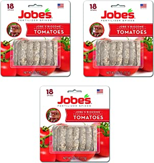 Jobe's Tomato Fertilizer Spikes, 6-18-6 Time Release Fertilizer for All Tomato Plants, 18 Spikes per Blister Package, 3-Pack, 54 Spikes Total