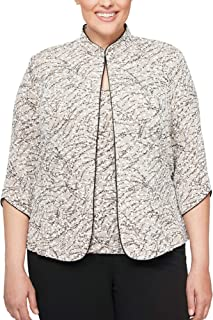 Alex Evenings Women's Plus Size Printed Mandarin Neck Twinset Tank Top and Jacket