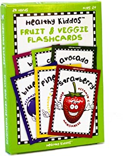 Healthy Kiddos Educational Fruit and Vegetable Flash Cards Teach Kids Nutritional Benefits of Eating Fruits and Veggies 24 ct