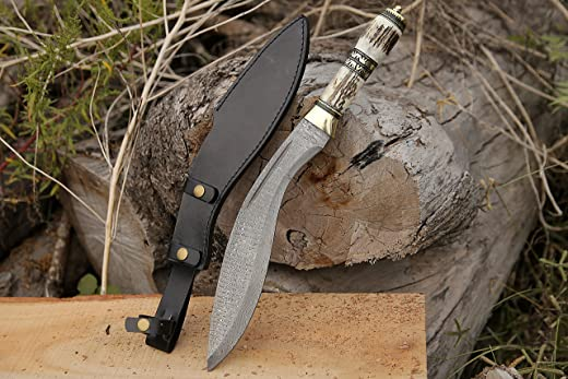 Damascus Steel Kukri Knife, Hunting Camping Survival EDC Hiking Stag Antler Handle Knife With Leather Sheath