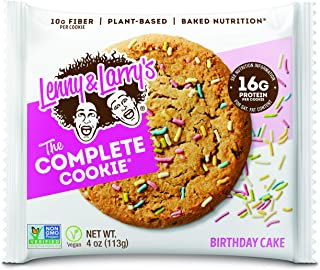 Lenny & Larry`s The Complete Cookie, Birthday Cake, 4 oz (Pack of 12) Soft Baked