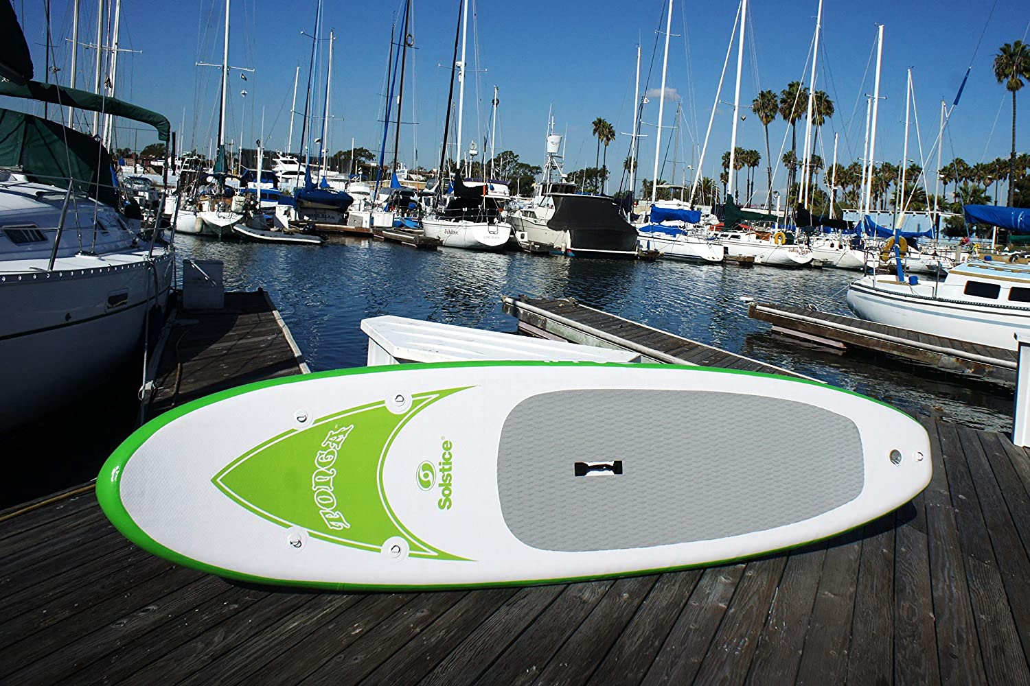 Solstice by International Leisure Products Tonga Inflatable Stand up Paddleboard, Green White, 10Feet 8Inch