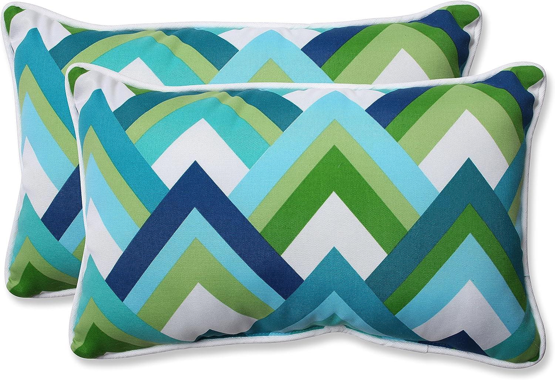 Pillow Perfect Outdoor Resort Peacock Rectangular Throw Pillow, bluee, Set of 2