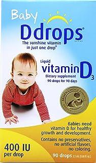 加拿大直邮 Baby Ddrops 400IU 90 Drops 美国版婴幼儿宝宝维生素D3滴剂90滴补钙滴剂Vd (1 瓶)