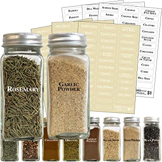 Talented Kitchen 226 Clear Spice Label Combo – 226 Black & White Preprinted Labels: Most Common Spice Names in 2 Letter Colors on Clear Stickers. Waterproof, Spice Jar Labels Spice Rack Organization