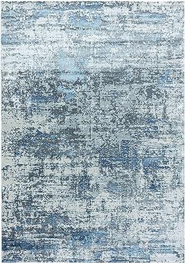 Carpetsale24 Pierre Cardin Alfombra de diseño con Reverso de Yute Efecto 3D Diseño Vintage Azul, Tamaño:200x290 cm