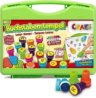 Craze - Tampon Lettre Alphabet Enfant, Tampons Enfants, Jeu de lettres Éducatif Garçon Et Fille, Kit 26 Matrices De Différ...