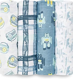 Aden by aden + anais Swaddle Blanket | Muslin Blankets for Girls & Boys | Baby Receiving Swaddles | Ideal Newborn Gifts, Unisex Infant Shower Items, Toddler Gift, Wearable Swaddling Set, Retro