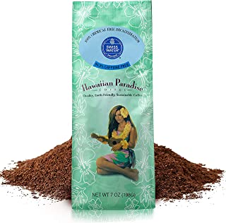 Hawaiian Paradise Coffee Caffeine Free {7 oz}- World Class Premium Flavored Grounds Gourmet | Made From the Finest Beans | Farm Fresh Earth Friendly Responsibly Sourced | Island Favorite Swiss Water P