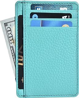 Front Pocket Slim Wallets for Men with RFID - Genuine Leather Handmade Minimalist Credit Card Holder