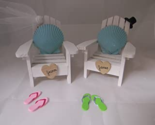 Wedding Reception Adirondack Chairs Beach Real Seashell Cake Topper