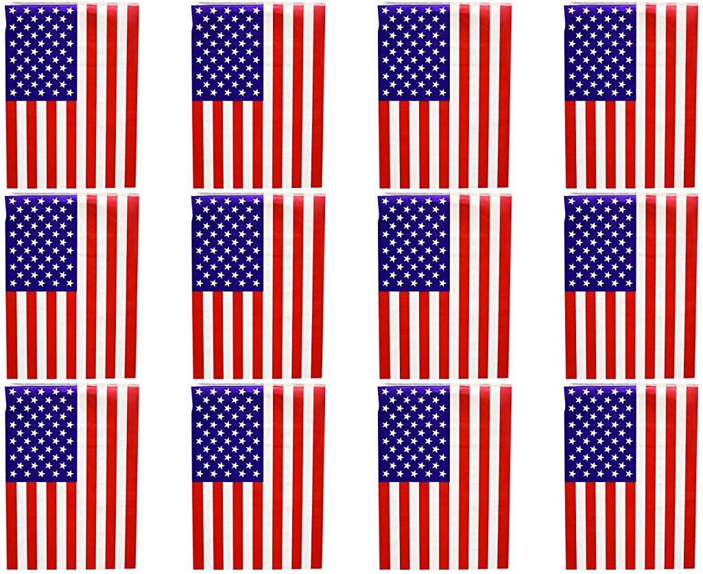 Set of 3 Patriotic 12FT 8 Flag Banners! 9 Assorted Styles - 3 Different Designs - 12ft Long - Bunting - Perfect for Decorating for 4th of July, Parties, BBQ's, and More! (Flag)