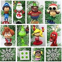 Christmas Ornament Dr. Suess Whoville Dr. Seuss The Grinch Mini Set - Unique Shatterproof Plastic Design