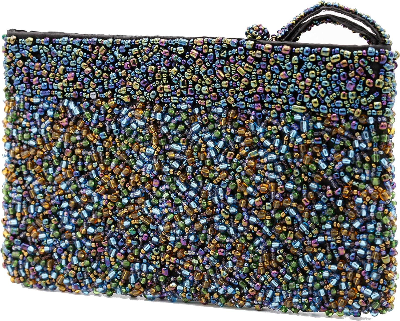 Blue Beaded Clutch, Large Evening Bag, Wristlet, Fair-Trade and Handmade
