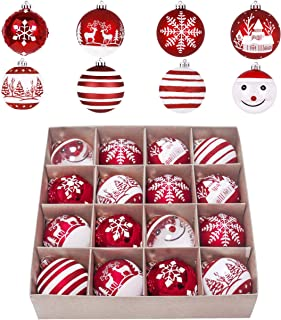 Valery Madelyn 16ct 80mm Traditional Red and White Shatterproof Christmas Ball Ornaments Decoration,Themed with Tree Skirt(Not Included)