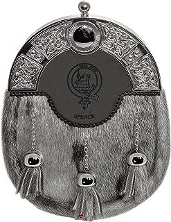 Spence Dress Sporran 3 Tassels Studded Targe Celtic Arch Scottish Clan Name Crest
