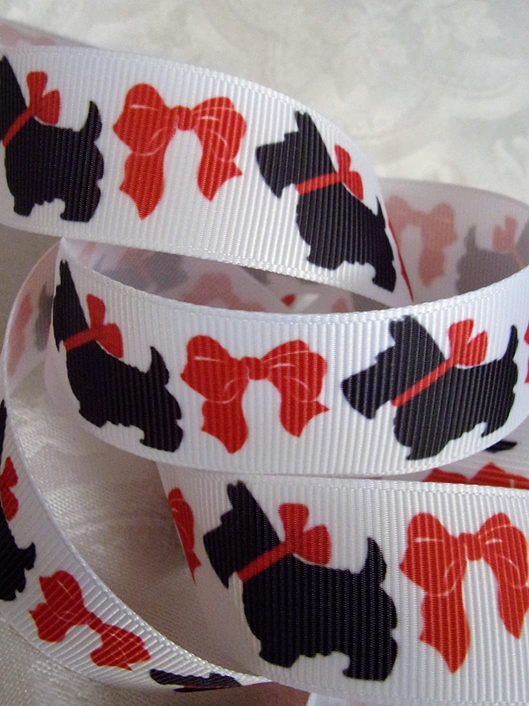 Grosgrain Ribbon Scottish Terrier Dog Print - 1 Inch Wide, 10 Yards - for Hair Bows, Decorating, Craft & Sewing!
