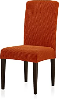 subrtex Jacquard Dining Room Chair Slipcovers Sets Stretch Furniture Protector Covers for Armchair Removable Washable Elastic Parsons Seat Case for Restaurant Hotel Ceremony (2, Orange)