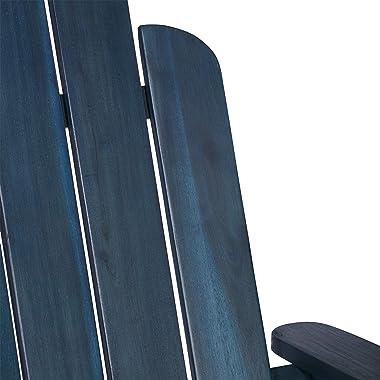 Walker Edison Sullivan Classic Solid Acacia Wood Outdoor Folding Adirondack Chair, 38 Inch, Navy Blue Wash