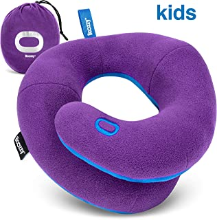 BCOZZY Kids- Travel Pillow- Supports Child's Head, Neck & Chin While Sleeping in Booster Carseat. Best Toddler Accessory & Activity for Traveling on Airplane and Road Trips. Purple
