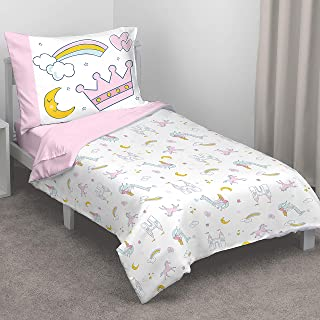 Carter's Whimsical Princess Tales 4 Piece Toddler Bed Set with Comforter, Fitted Bottom Sheet, Flat Top Sheet and Standard Pillowcase, Pink and White
