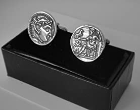 Golden Artifacts Alexander The Great, King of Macedonia, Greek Coins, Coin Cuff Links, Greek Mythology (76C-S)