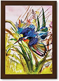 Wall Painting Photo Frame of Bird | Handmade with Water Colour | Modern Art Pen Sketch Drawing | Portrait Painting for Wal...