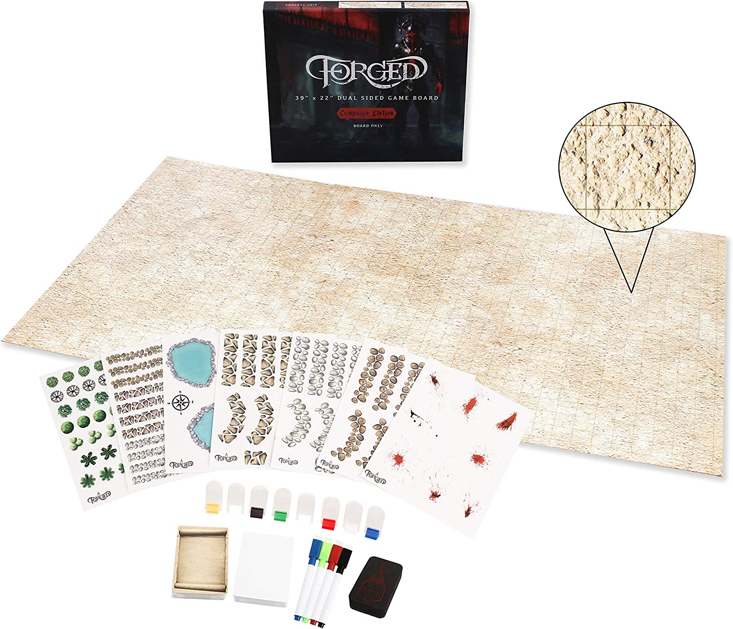 Forged Dice Co. Dry Clearance SALE Limited 2021 model time Erase Battle Board with Hex Grid Pat and Map