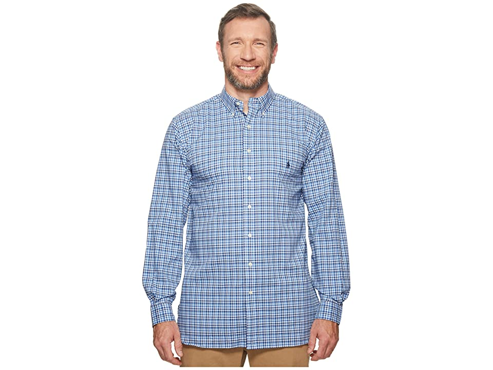 Polo Ralph Lauren Big Tall Poplin Long Sleeve Sport Shirt (Multi Blue/White) Men