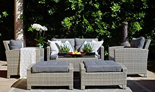 SunHaven Resin Wicker Outdoor Patio Furniture Set - 7 Piece Conversation Sectional Premium All Weather Gray Wicker Rattan, Aluminum Frame with Deluxe Fade Resistant Olefin Cushions (Stamford)