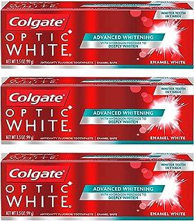 Colgate Optic White Anticavity Fluoride Toothpaste, Enamel White, Luminous Mint 3.5 Ounces (Pack of 3)