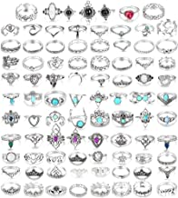 LOLIAS 44-101 Pcs Vintage Knuckle Ring Set for Women Stackable Rings Set Hollow Carved Flowers