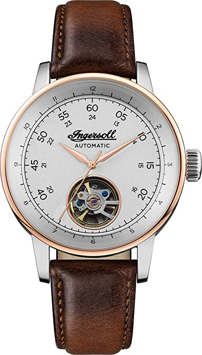 Ingersoll the miles mens automatic watch i08001 with a silver dial and a brown genuine leather band