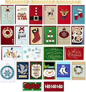 Hallmark Assorted Handmade Boxed Christmas Cards (Set of 24 Premium Holiday Greeting Cards and Envelopes)