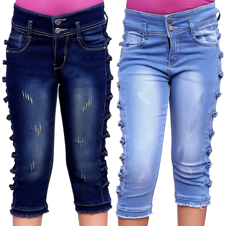 Buy ELENDRA Girls' Slim Fit Capri (Pack of 2) at Amazon.in