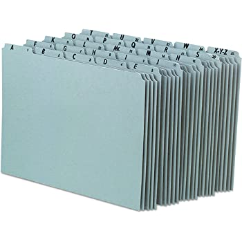 Pendaflex A-Z Top Tab Recycled Gray Pressboard 1/5-Tab File Guides, Letter, 25/Set (PN925)
