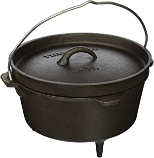 featured product Texsport Cast Iron Dutch Oven with Legs,  Lid,  Dual Handles and Easy Lift Wire Handle.