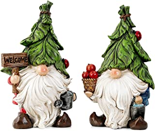 TERESA'S COLLECTIONS Garden Gnome Statues, Set of 2 Funny Gnomes Garden Decorations Figurines for Outdoor Lawn Patio Yard ...
