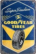 Nostalgic-Art Retro plåtskylt, Goodyear - Super Cushion - Presentidé för bil- och motorcykelfans, tillverkad av metall, vi...