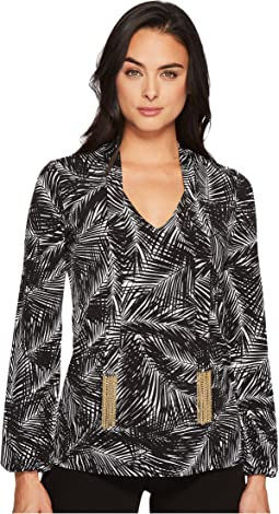 Abstract Palm Long Sleeve Tie Top