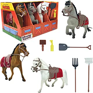 Liberty Imports Horse Stable Take-Along Toy Playset with Farm Tools and Accessories (Set of 3) (Horse)