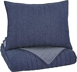 Signature Design by Ashley Q771001T Capella Twin Quilt Set - Set of 2 - Youth - Denim