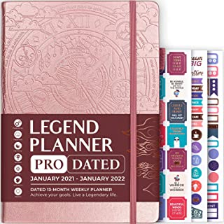 $34 » Legend Planner PRO (Jan 2021–Jan 2022) Dated – Deluxe Weekly & Monthly Life Planner to Increase Productivity, Time Management and Hit Your Goals – Organizer, Gratitude Journal – 7″ x 10″ – Rose Gold